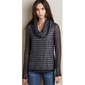 Anthropologie,Moth,Gray Striped Cowl Neck Sweater